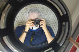 A grad student magnified by the F/1.1 ASM