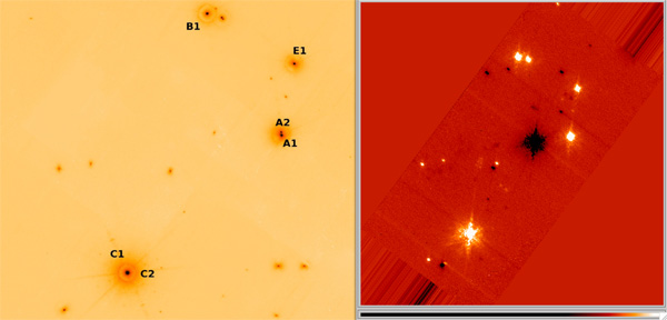 Measuring astrometry using Trapezium stars.  (Left) Trapezium as imaged at the LBT/PISCES in the IR a year or so ago by Laird.  (Right) Trapezium as imaged with MagAO/Clio here at LCO by me.