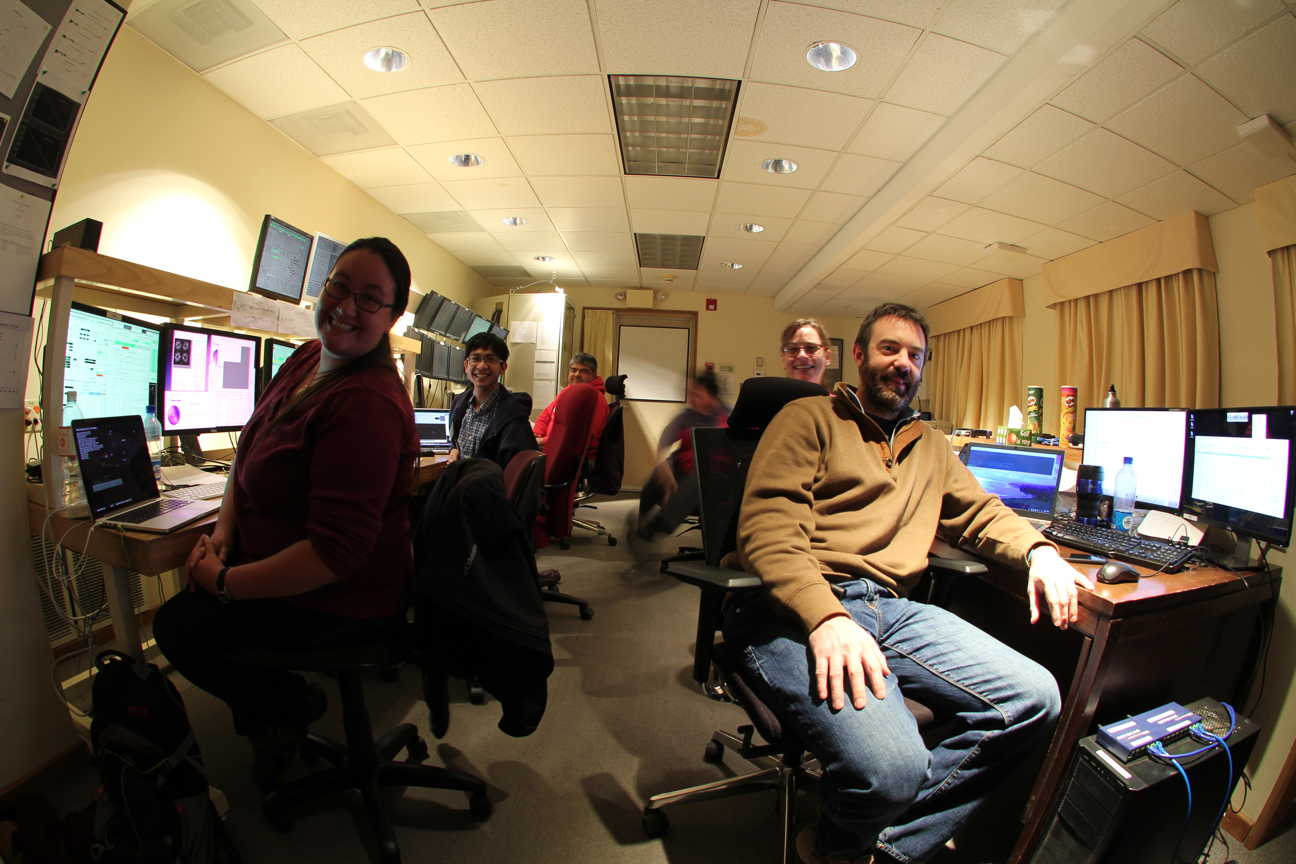 Our control room tonight (clockwise from left):  Kim Ward-Duong on AO, Atom on Clio, Alberto on all things telescope (and DON'T call him by the wrong name), me falling over in the chair, Katie Morzinski and Jared Males on VisAO.