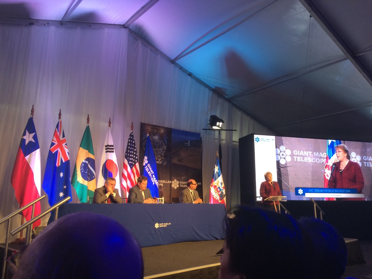 President of the Republic of Chile, Michelle Bachelet, speaking at the November 11th Groundbreaking Celebration for GMTO.