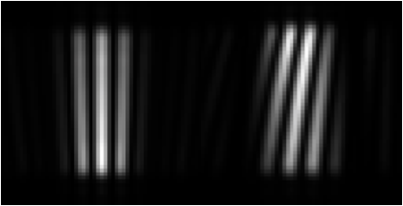 Simulated fringes from one subaperture showing 0 piston phase difference (left) and 10 microns (right).