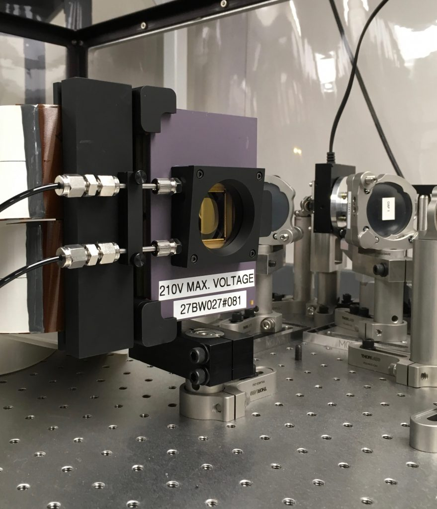 View of the BMC-2K DM mounted in its holder on our MagAO-X optical bench.