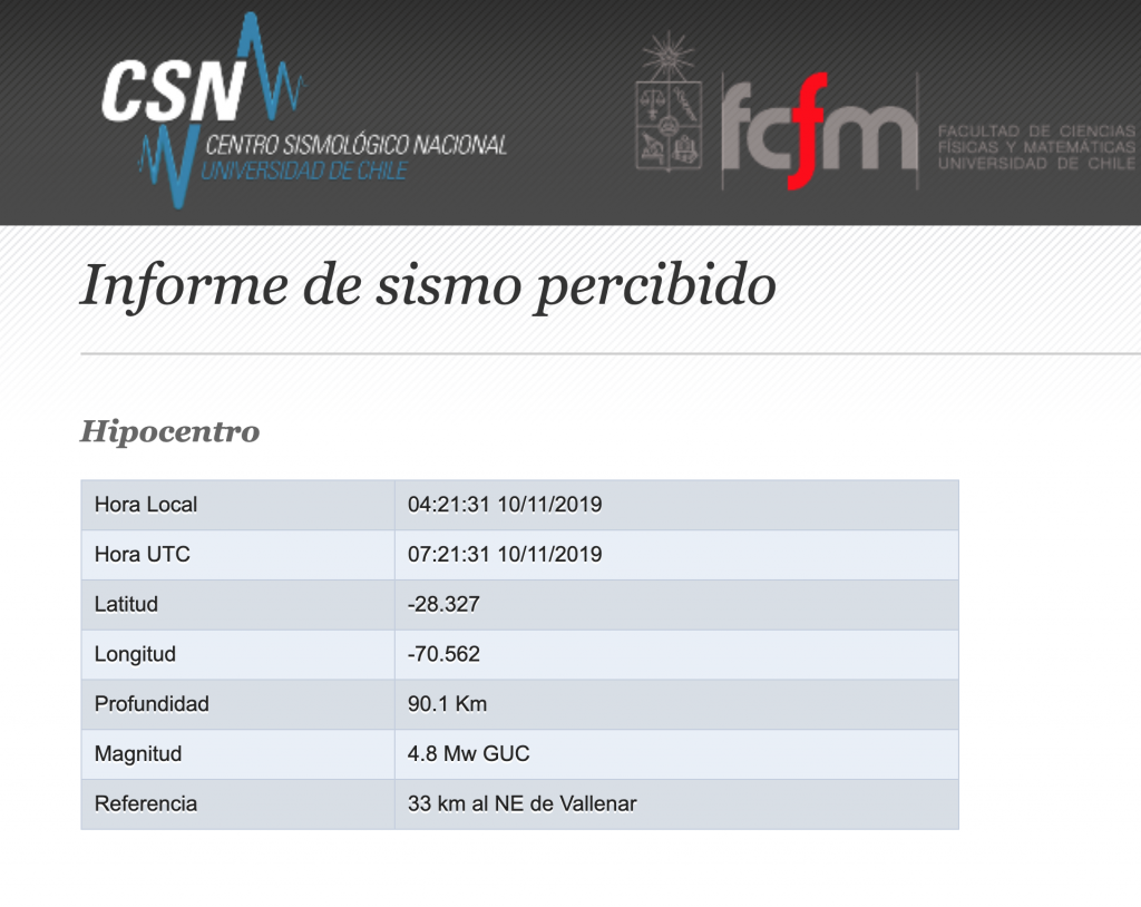 A chart from a Chilean earthquake tracking website. Magnitude 4.8, 33km NE of Vallenar.