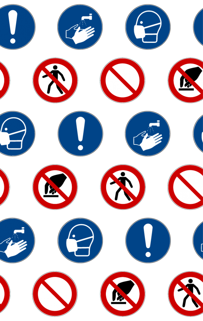 Repeating pattern with alternating rows of blue mandatory action icons and red prohibited icons